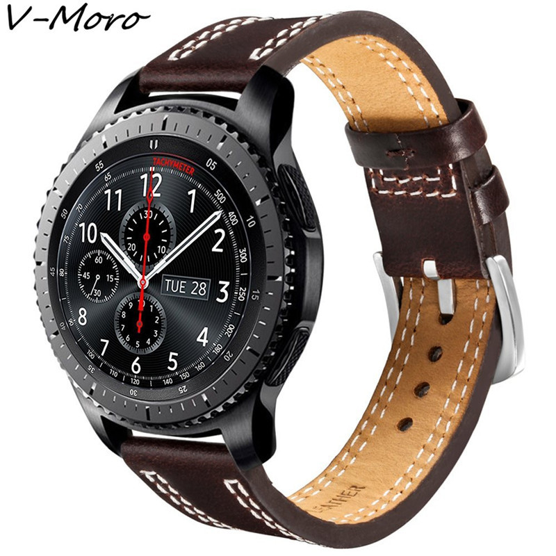 V-MORO 22mm Leather Watch Strap For Samsung Gear S3 Classic Band Replacement Watch Band For Gear S3 Classic Frontier Straps lord foresta umbra moro 50x50