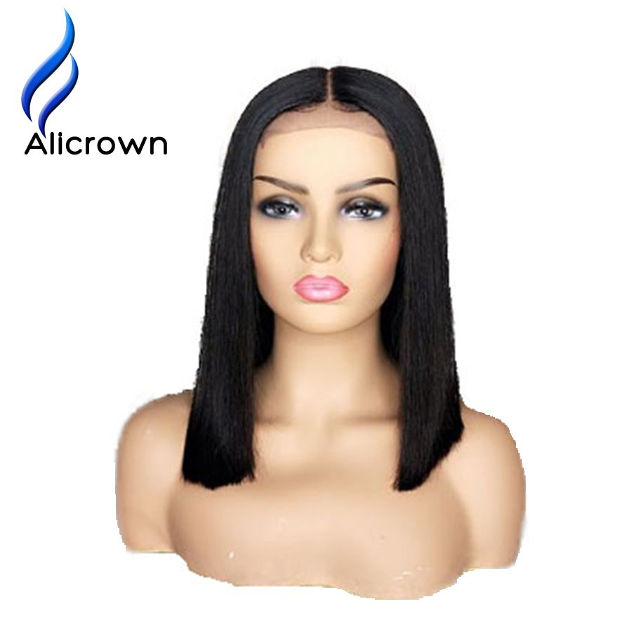 Alicrown Short Bob Lace Front Human Hair Wigs 13 4 Straight Full End Brazilian Remy Wigs