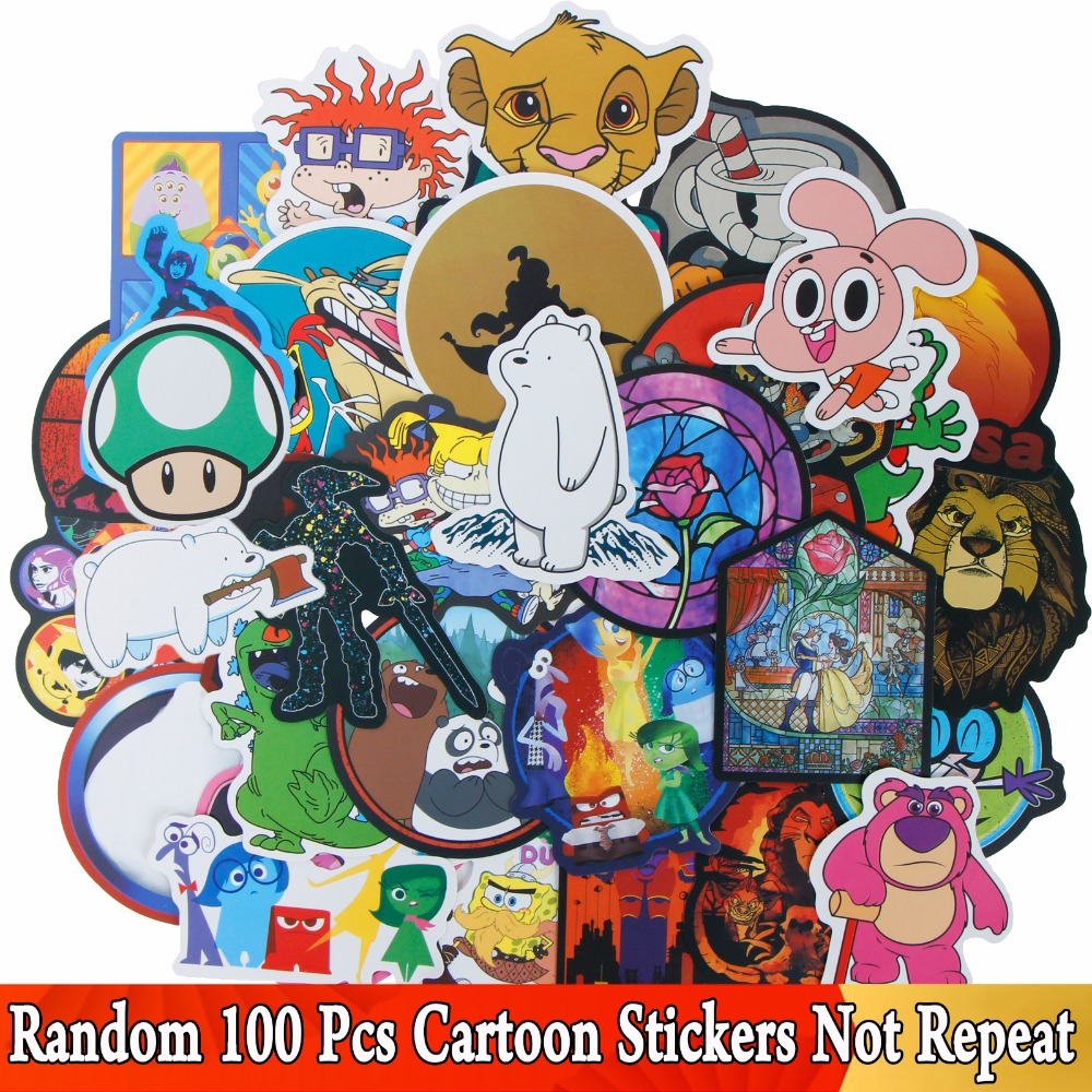 100 Pcs JDM Cartoon Anime Character Graffiti Stickers For Bike Motorcycle Phone Laptop Travel Luggage Cool Funny Sticker Decals