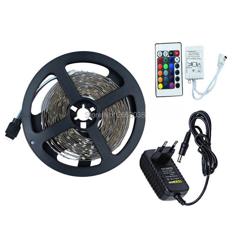WFTCL 5M RGB LED Strip Light Flexible SMD 2835 300 LED Light Tape Ribbon Lamp + 24 keys IR Remote Controller + 2A Power Adapter