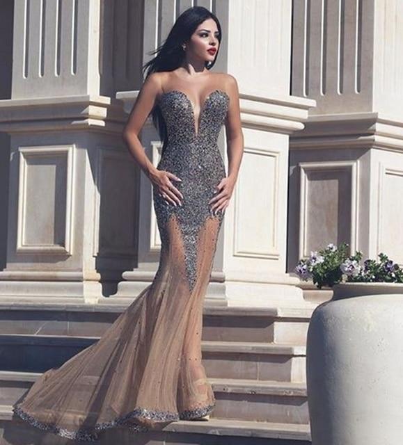 Champagne Long Tulle Women Mermaid Crystal Prom Dresses Sequins ballkleider  galajurken Velvet Rhinestone Sexy Prom Dresses 28dffdca045b