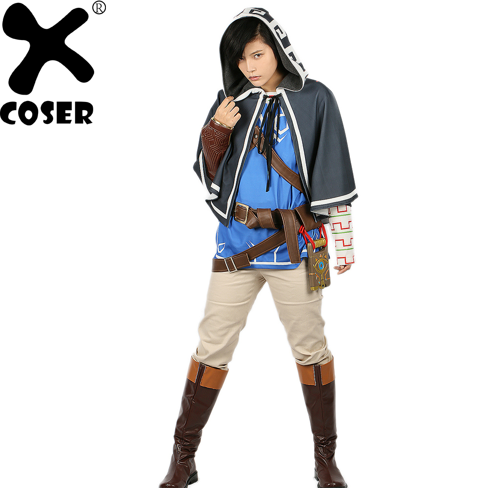 XCOSER Zelda Link Costume Cosplay Game The Legend of Zelda Full Outfit Dress Breath of the Wild Suit Halloween Costume for Adult
