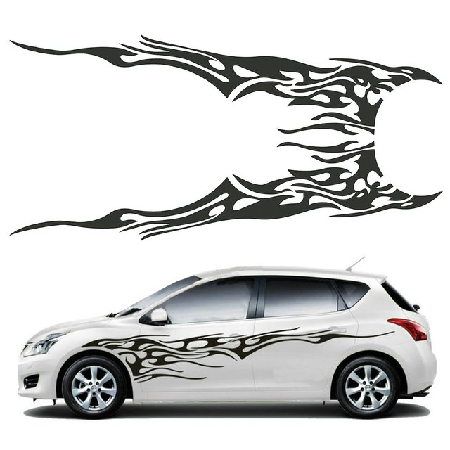 Pair X Cm Black Universal Car Flame Graphics Vinyl Car - Graphics for the side of a car