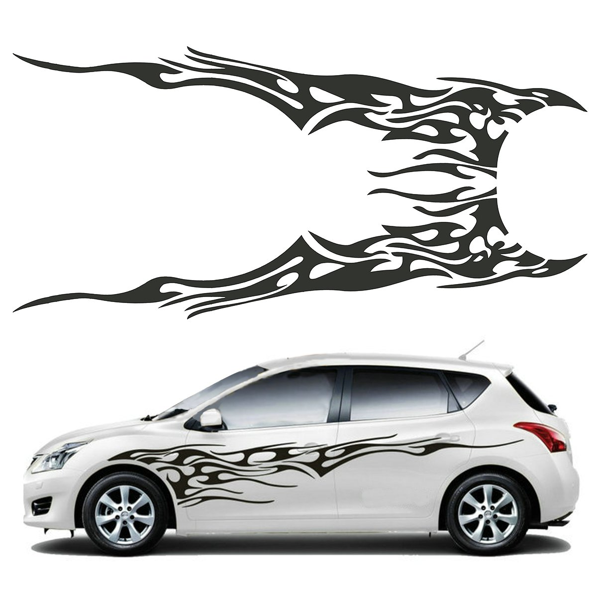 Pair 210 5 x 48cm black universal car flame graphics vinyl car side sticker decal waterproof