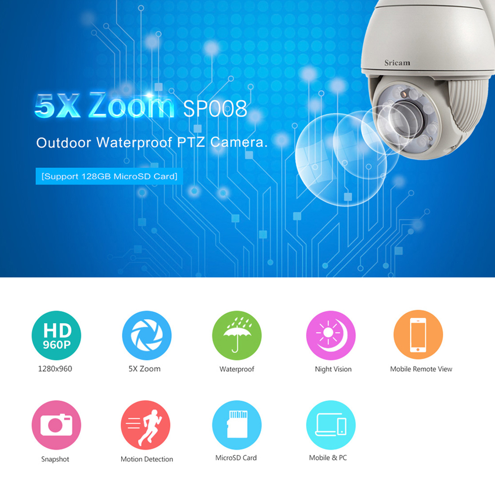 Sricam 960P HD H.264 Dome IP Camera Support DVR NVR Micro SD Card CCTV Wireless WiFi Camera Home Outdoor Security Camera