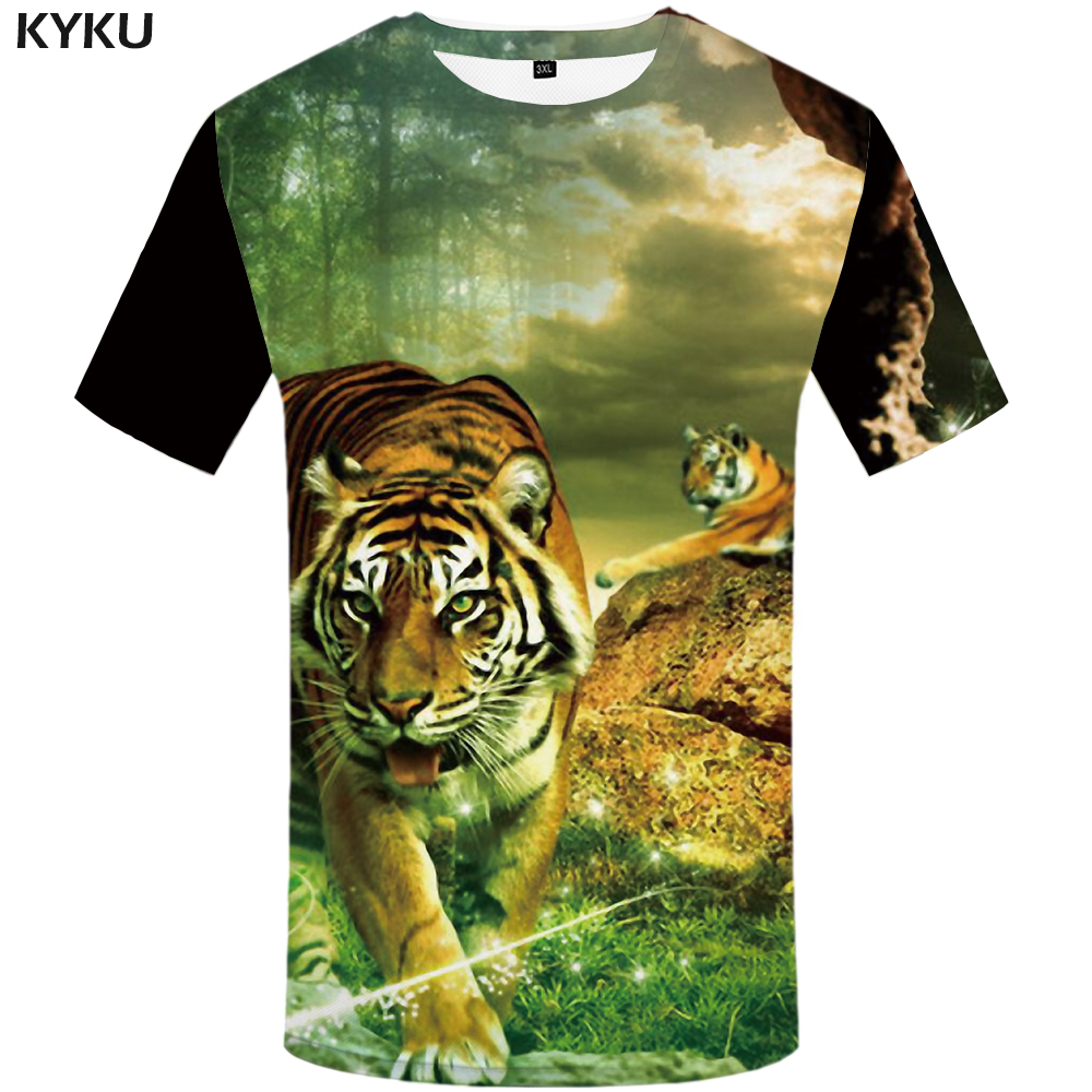 KYKU Brand Tiger   T     Shirt   Men Animal Tshirt Forest 3d Print   T  -  shirt   Hip Hop Tee Slim Cool Mens Clothing 2018 New Summer Plus Size