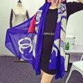2015 Новый Люксовый Бренд Женщина Шарф Изысканный Двойной сталкиваются Печати Платки И Шарфы Кольцо Живописи Пашмины Бесплатная Доставка