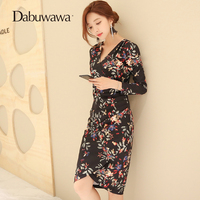 Dabuwawa Black Autumn Long Sleeve V Neck Sexy Party Dress High Waist Floral Print Sheath Dress