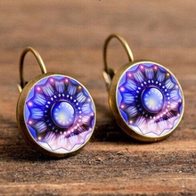 Blue Green Kaleidoscope Hanging Earrings Mandala Flower Resin Cabochon Pendant Drop Earring Wholesale Brincos Mandala Jewelry vintage kaleidoscope flower drop earring for women blue purple indian mandala pattern round eardrop wholesale brincos 2018