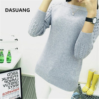 DASUANG Sweaters Women 2017 Winter O Neck Long Sleeve Pullovers Knitted Sweater Female Warm Tops D056