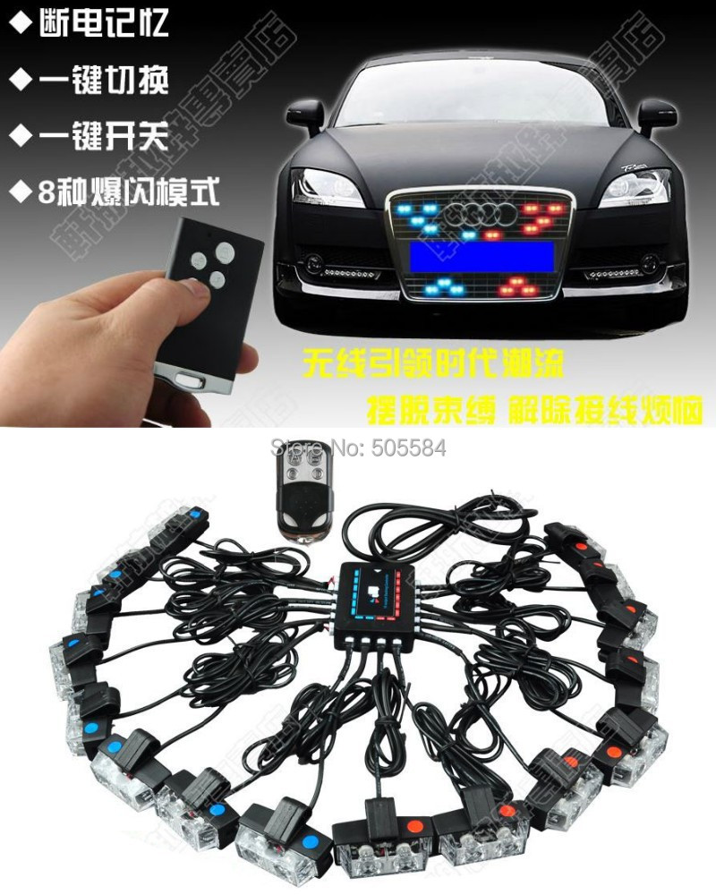 wireless 48w 16 in 1 car truck motorcycle led strobe light kit police fireman vehicle drl. Black Bedroom Furniture Sets. Home Design Ideas