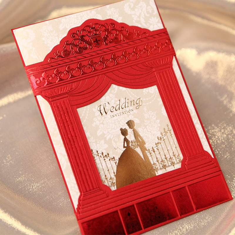 30pcs Red Bride And Groom Laser Cut Wedding Invitations Card Hollow  Embossed Tri Fold Elegant Customized Wedding Party Supplies