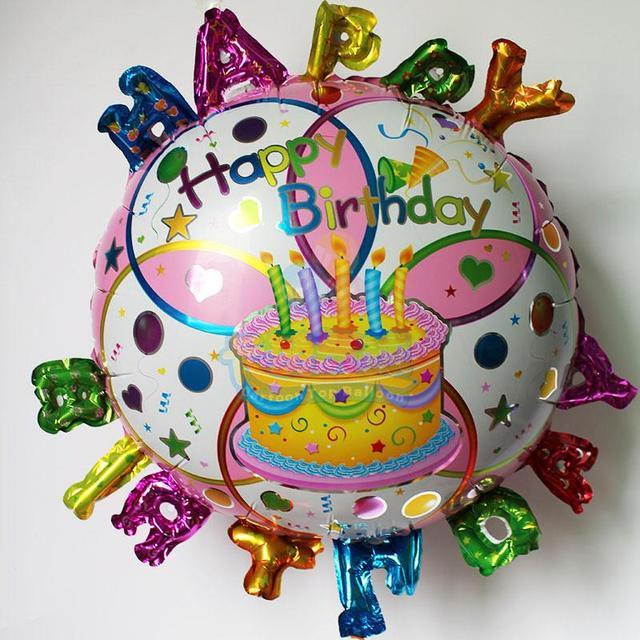 Happy Birthday Letter Birthday Cake Balloons Inflatable Foil Globos