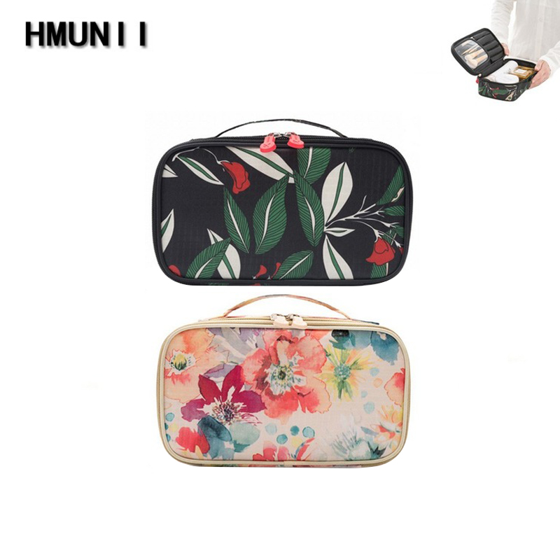 HMUNII Cosmetic Bags Makeup Bag Women Travel Organizer Professional Storage Brush Necessaries Make Up Case Beauty Toiletry Bag travel necessary 2018 women cosmetic bag portable professional cosmetic case beauty brush organizer waterproof makeup bag