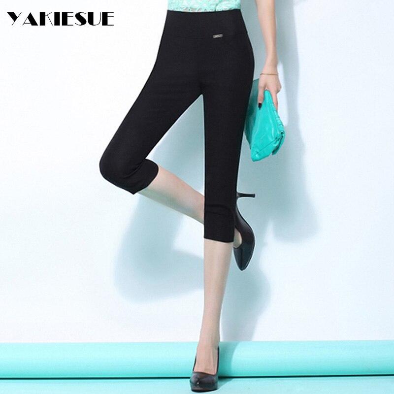 2017 summer pencil   pants   women high elastic waist cotton skinny casual   pants     capri   woman OL office female trousers Plus size
