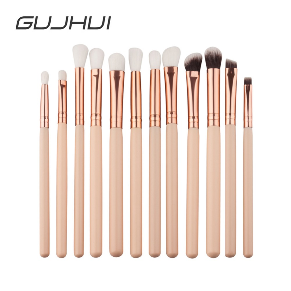 GUJHUI 12Pcs Professional Eyes Makeup Brushes Set Wood Handle Eyeshadow Eyebrow Eyeliner Blending Powder Smudge Brush #257601 (China)