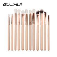 GUJHUI 12Pcs Professional Eyes Makeup Brushes Set Wood Handle Eyeshadow Eyebrow Eyeliner Blending Powder Smudge Brush #257601