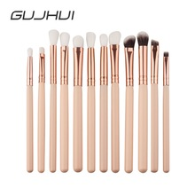 GUJHUI 12Pcs Professional Eyes Makeup Brushes Set Wood Handl