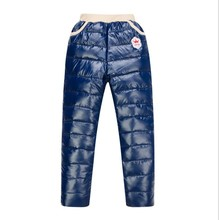 2015 New girls and boys winter windproof pants children's warm plus velvet & down trousers thicken design retail