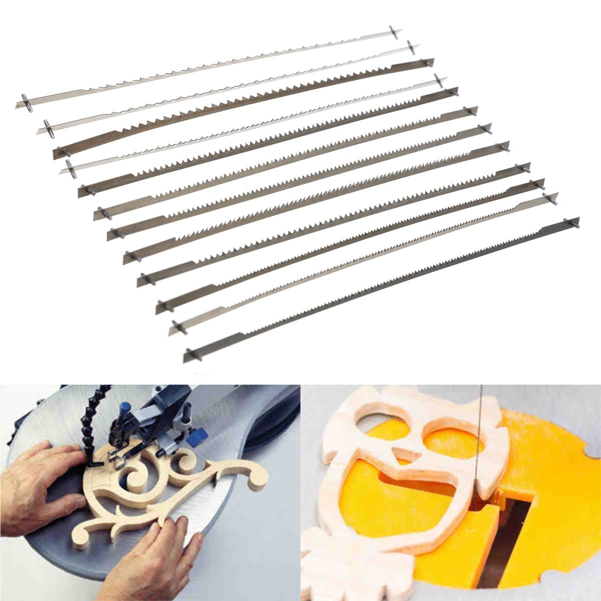 12pcs/set Pinned Scroll Saw Blades Woodworking Power Tools Accessories 127mm Black