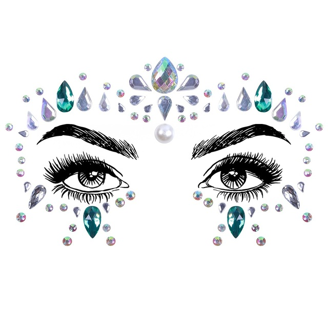 1Sheet Face Jewels Rhinestones Adhesive Crystal Face Gems Beauty Body Glitter Tattoo Art Eyebrow Face Body Jewelry 5