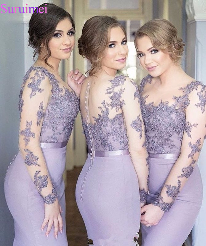 Mermaid Long Bridesmaid Dresses 2017 Long Sleeves Lace Appliques Formal Wedding Party Dresses Sheer Brides Maid Dress Vestidos
