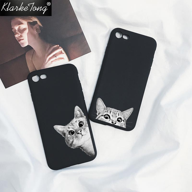 KlarkeTong Cute Cartoon Space Moon Cat Phone Case For iPhone 8 7 6 6s Plus X Soft Luxury Animal Black Silicone Back Cover