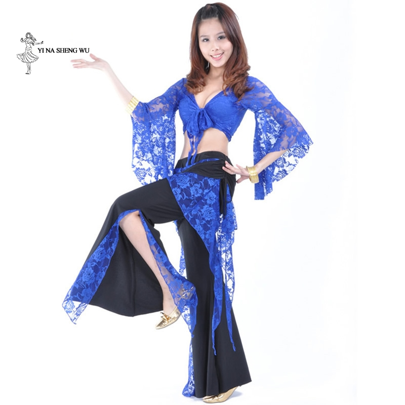 Women Lady Belly Dance Costume Set Dance Practice Clothes For Adult Lace Butterfly Sleeve Dancing Clothing Top+pants Dancewear
