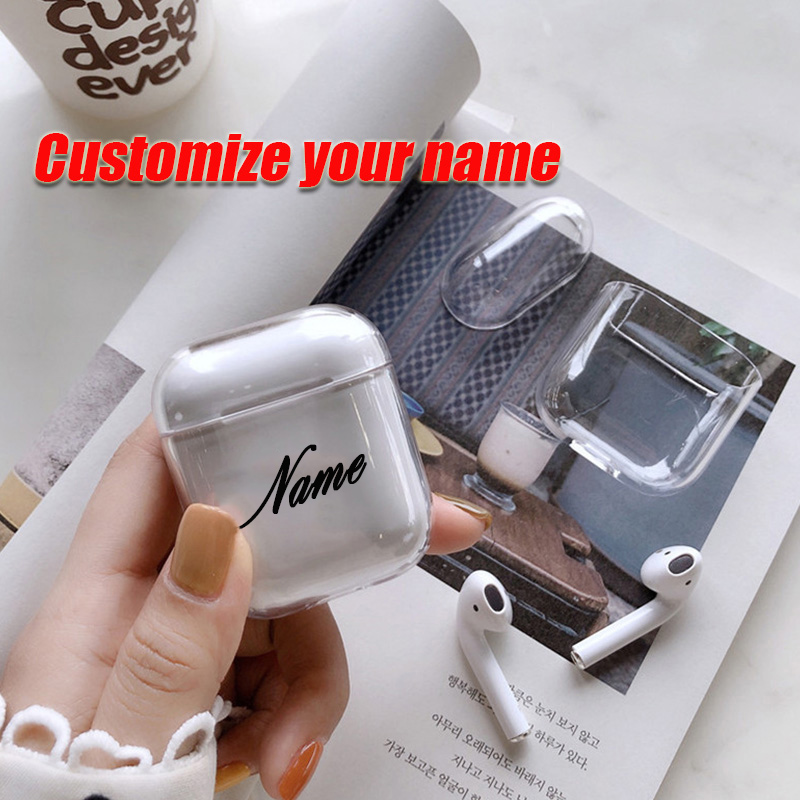 For Airpod Case Custom Name And Pattern Clear Transparent Soft Plastic Cute Case For Air Pods DIY Customized Letters And Pattern