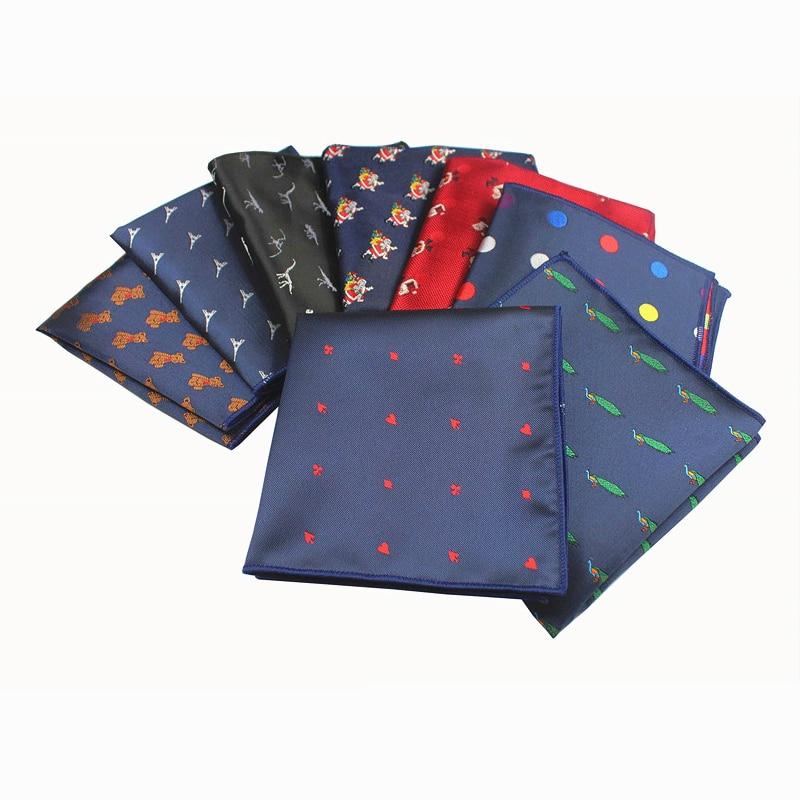 GUSLESON New Design Gentlemen Style Creative Animal Christmas Handkerchief For Men Suit Pocket Square Wedding Hanky Chest Towel