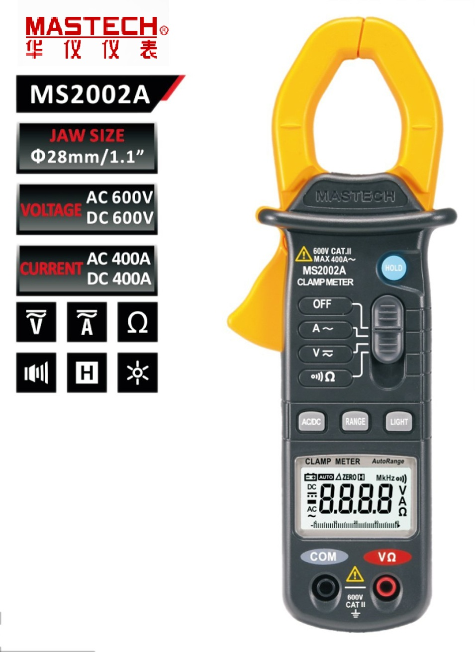 Digital Clamp Meter MASTECH MS2002A 4000 count display 3 3/4 Mini 600V/400A AC current Autorange DC voltage Resistance tester ac 3 1 2 lcd display automatic manual shift digital clamp meter tester tm 1012 tm1012