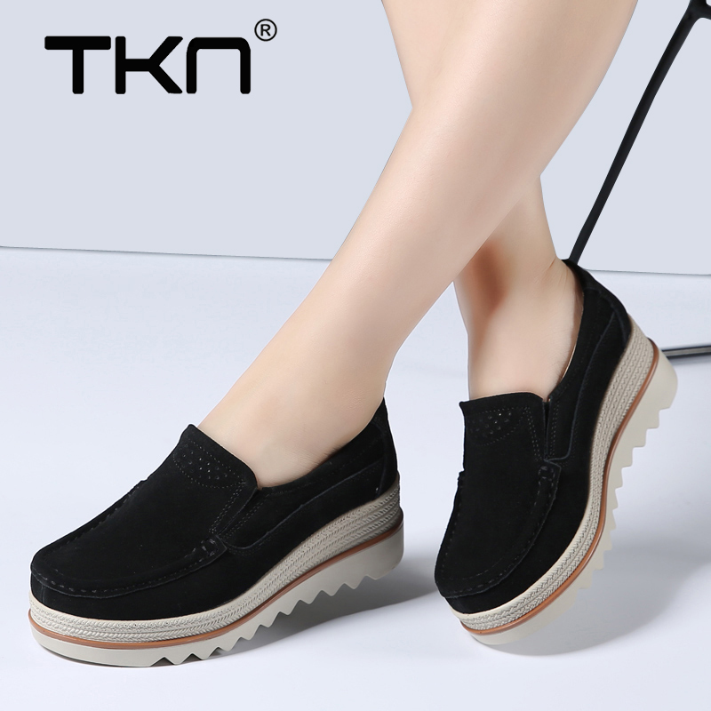 2019 Women Spring Warm Plush Platform Shoes   Leather     Suede   Plush Slip on Wedge Tenis Feminino Platform Shoes Sneakers Woman 1088