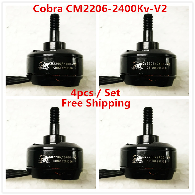 Cobra Motor CM2206-2400-V2 Superlight Brushless Motor for Mini drone,Fpv racing, Kv=2400, 4pcs in 1 set, Free Shipping x6210 kv320 24n28p agriculture drone brushless motor dustproof and waterproof thick line 1 pcs