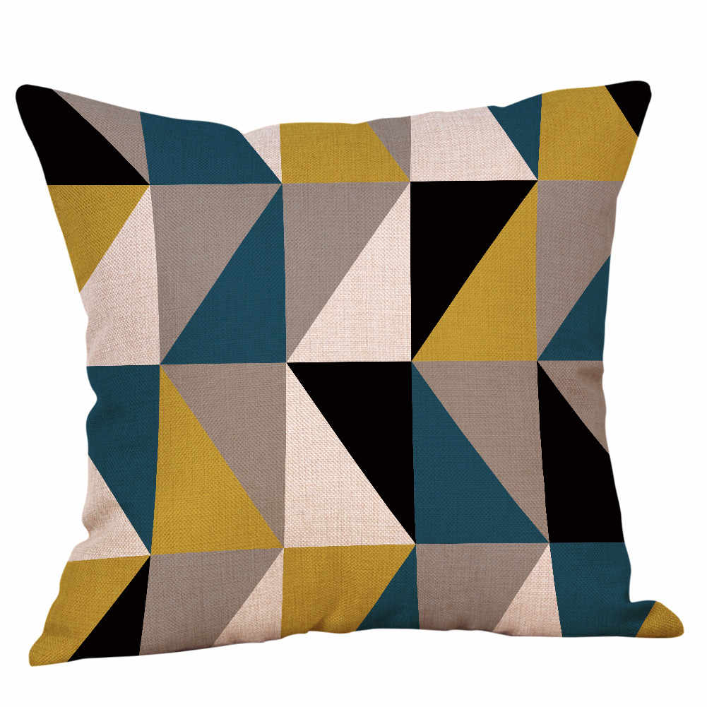 Baumwolle Leinen 45x45 cm Platz Kissen Geometrische Gedruckt Baumwolle Leinen Werfen Kissen Fällen Sofa Kissen Cover Home Decor q0