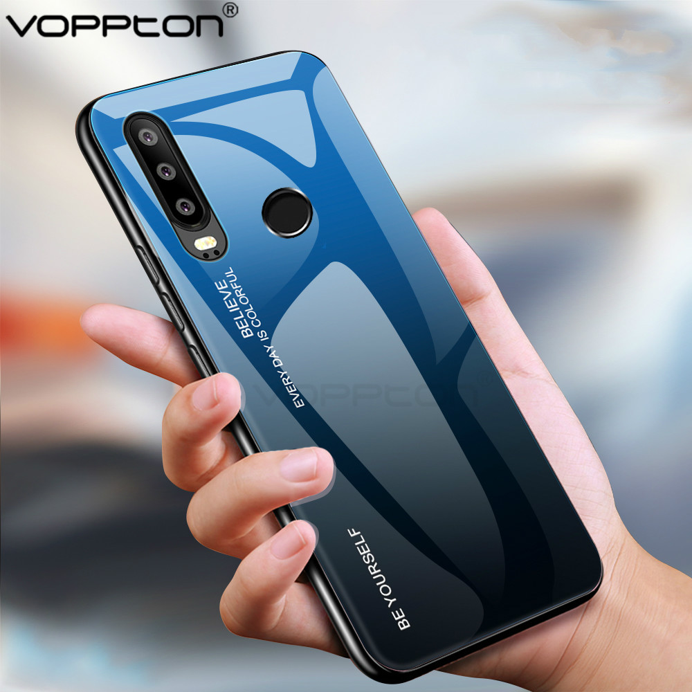 For Huawei Honor 10i Case Gradient Tempered Glass Hard Case For P Smart Plus 2019 Honor 10 Lite  Silicone Frame Glass Back Cover