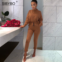 Sibybo Turtleneck Long Sleeve Casual Two Piece Set Women Spring Pockets Women Top and Pants Set Cotton Women Tracksuits