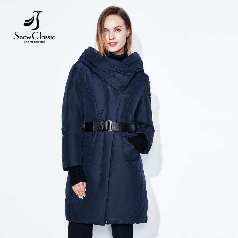 SnowClassic 2018 европейский стиль пальто мода теплый пояс плотный рот рукав куртка хлопка одежды пуховик с высоким воротником