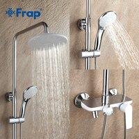 Frap banyo duş bataryası seti beyaz küvet musluk soğuk ve sıcak su mikser tek kolu ayarlanabilir yağmur biçimli duş Bar musluk F2431