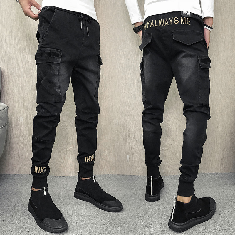 High Street Modis Mens Black Jeans Slim Fit Pantalon Homme Pencil Pants Streetwear Embroidery Denim Fashions Trousers Casual