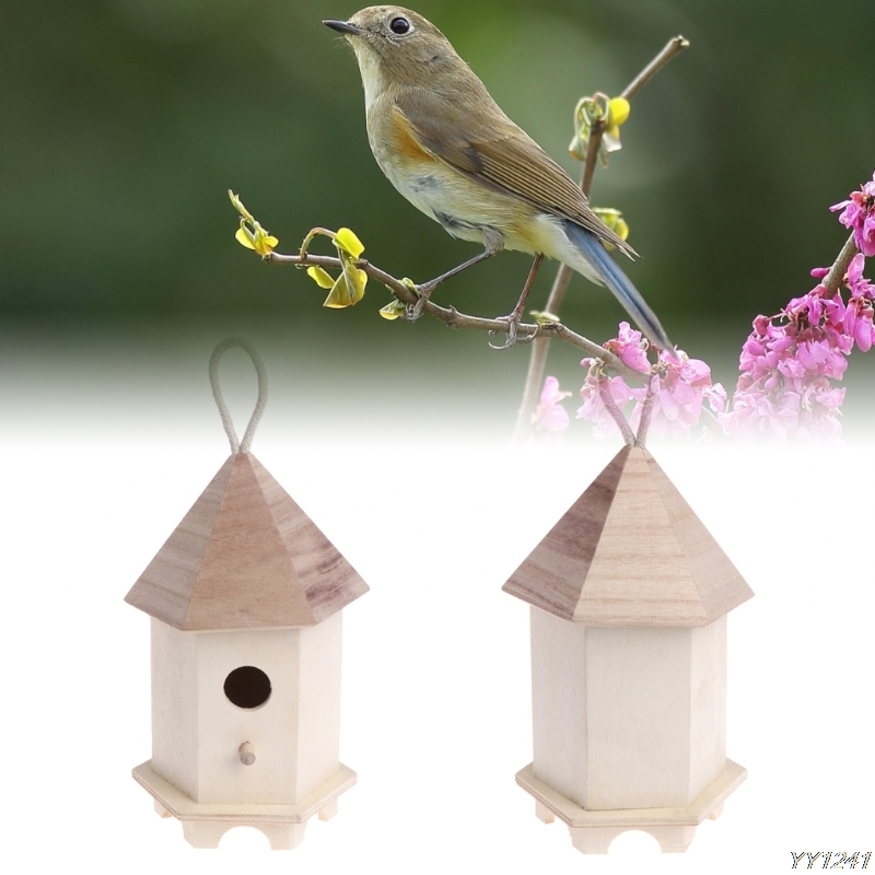 Bird Feeder Outdoor Feeding Wooden Garden Decoration Hexagon Nest House Supplies W110 dr ...