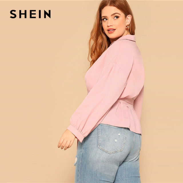 SHEIN Plus Size Pink Waist Belted Button Front Peplum Blouse Women Spring Long Sleeve Turn-Down Collar Solid Elegant Ladies Tops 1