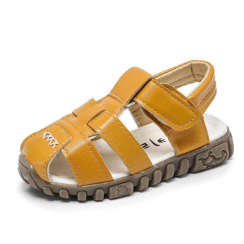 Zomer Kinderen Sandalen Voor Jongens Schoenen Kindje Zacht Lederen Peuter Little Kids Schoenen Casual Strand Sandalen Flats Anti-Slip mode