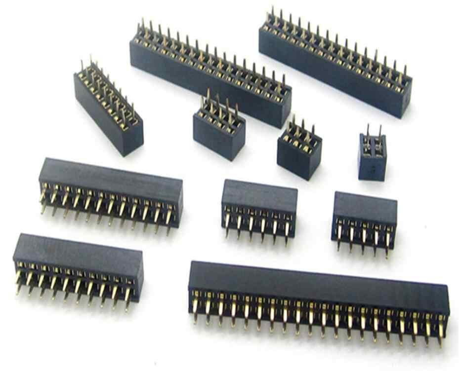 5 ชิ้น x 2x2/3/4/5/6/7/8/9 /10/11/12/13/14/15/16/17/18/20 /25/40Pin 2.0 มิลลิเมตรคู่แถวตรงหญิง Pin Header Strip PCB Connector