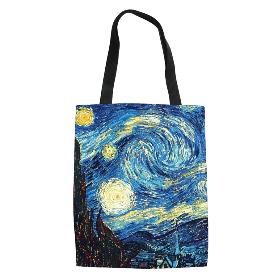 Famous Painting Starry Night Shopping Bags Custom Reusable Handbag Women Shoulder Cloth Pouch Foldable Girl Oil Large Linen Bag