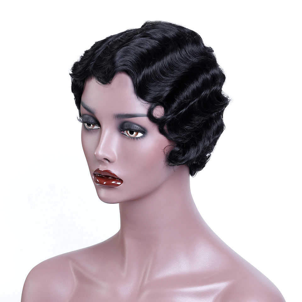 WTB Black Short Pixie Cut Wigs for Black Women African Afro Hair Synthetic Wigs Pink Finger Wave Hair Wig