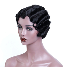 купить WTB Black Short Pixie Cut Wigs for Black Women African Afro Hair Synthetic Wigs Pink Finger Wave Hair Wig дешево