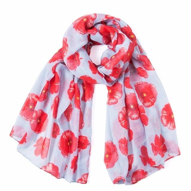 2018 Winter Fashion poppy Flower Print Scarf Women Wrap Shawl Women Accessories Poppies Scarves Long Scarf Free Shipping 1