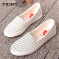 34-44 Plus Big Size Strip Canvas Shoes For Woman 2017 Spring New Female Casual Shoes Flats Student Footwear Zapatillas Femeninas