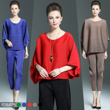 Europe Summer Fashion Bat Sleeve Blouse And Pants Suit Pleated Pants