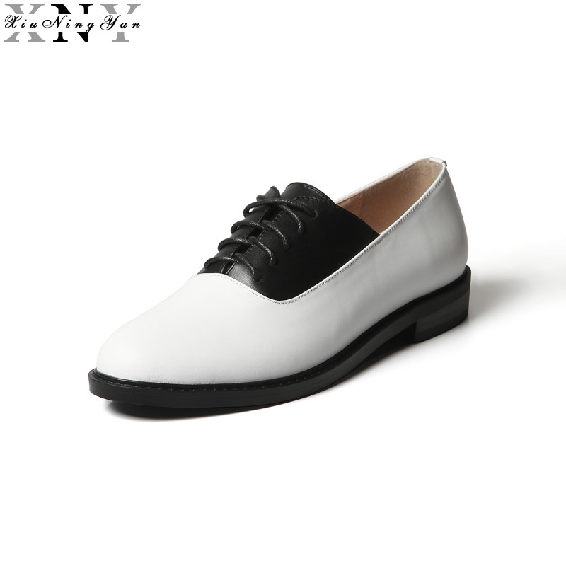 XIUNINGYAN Women's Flats Oxfords Shoes Brand Genuine Leather Woman Lace-up Casual Brogue Shoes for Women Handmade Oxford Shoes qmn women crystal embellished natural suede brogue shoes women square toe platform oxfords shoes woman genuine leather flats